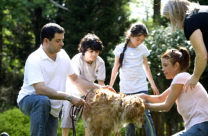 Family and a dog