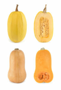 Four shots of butternut and spaghetti squashes